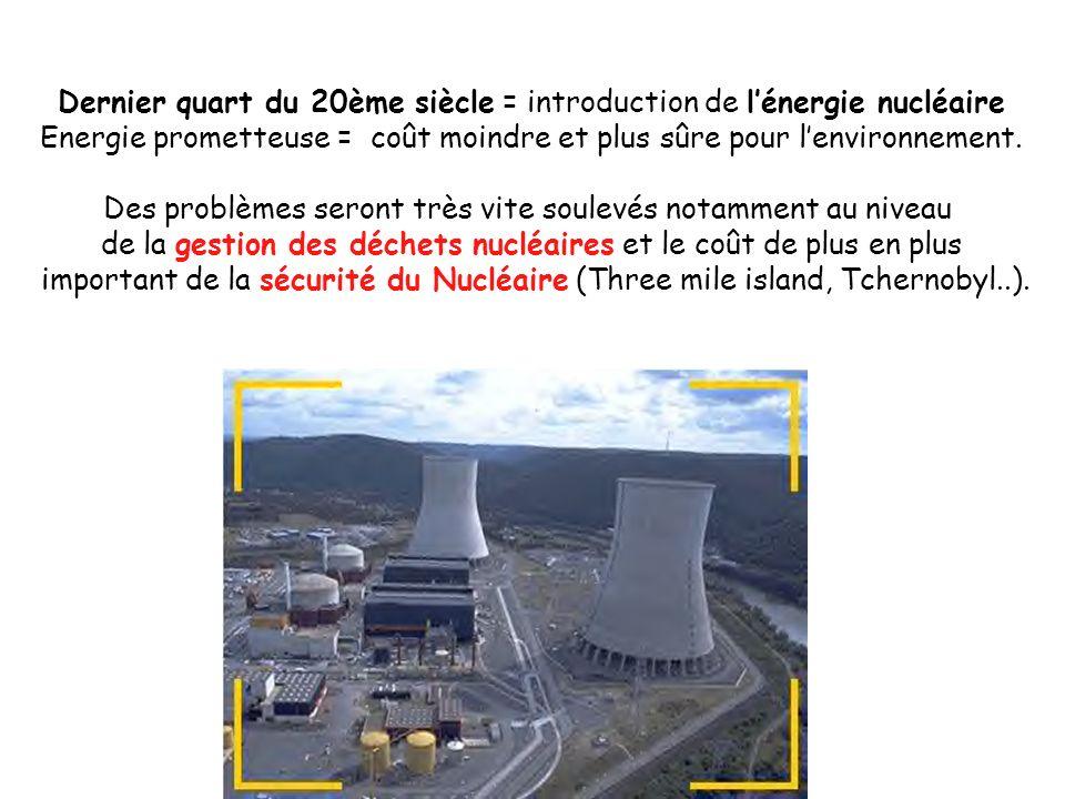Dernier quart du 20ème siècle = introduction de lénergie nucléaire Energie prometteuse = coût moindre et plus sûre pour lenvironnement. Des problèmes