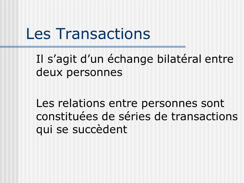 Les Transactions Il sagit dun échange bilatéral entre deux personnes Les relations entre personnes sont constituées de séries de transactions qui se succèdent