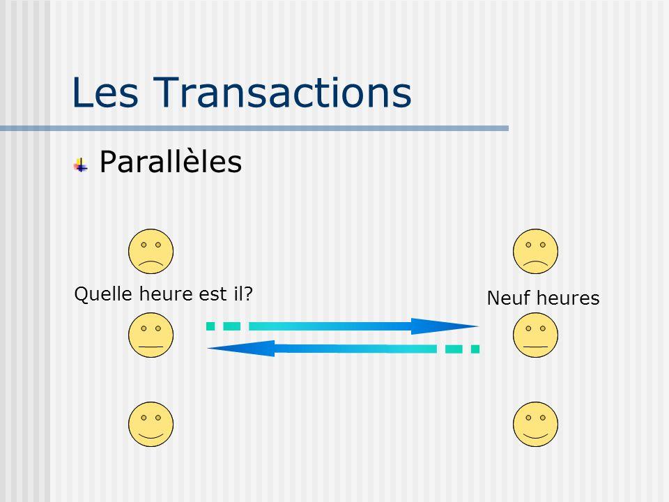 Les Transactions Parallèles Quelle heure est il? Neuf heures