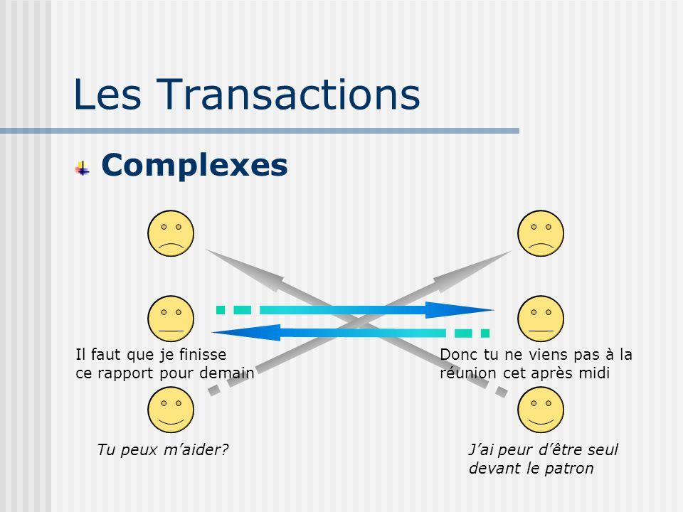 Les Transactions Complexes Il faut que je finisse ce rapport pour demain Tu peux maider.