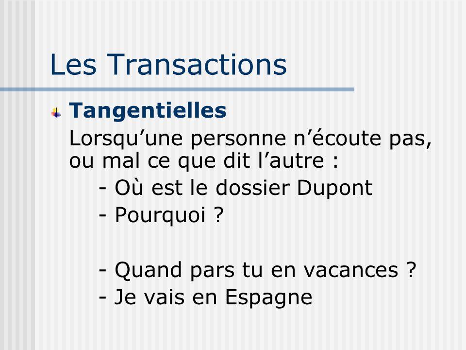 Les Transactions Tangentielles Lorsquune personne nécoute pas, ou mal ce que dit lautre : - Où est le dossier Dupont - Pourquoi .