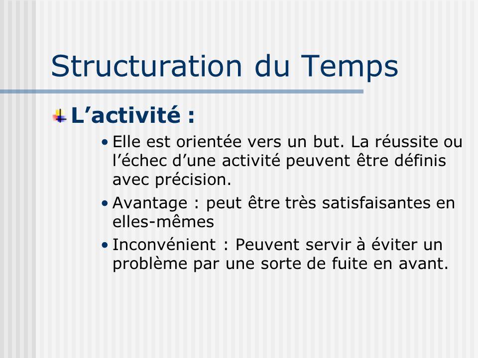 Structuration du Temps Lactivité : Elle est orientée vers un but.