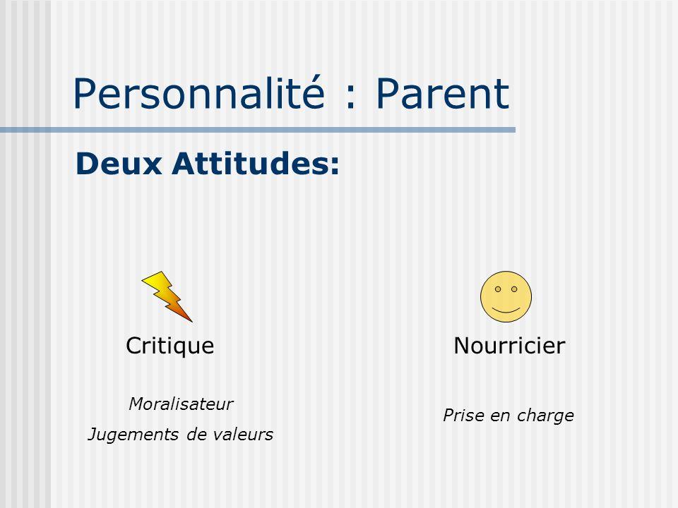Personnalité : Parent Deux Attitudes: Critique Moralisateur Jugements de valeurs Nourricier Prise en charge