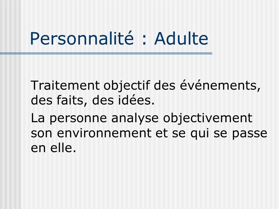Personnalité : Adulte Traitement objectif des événements, des faits, des idées.