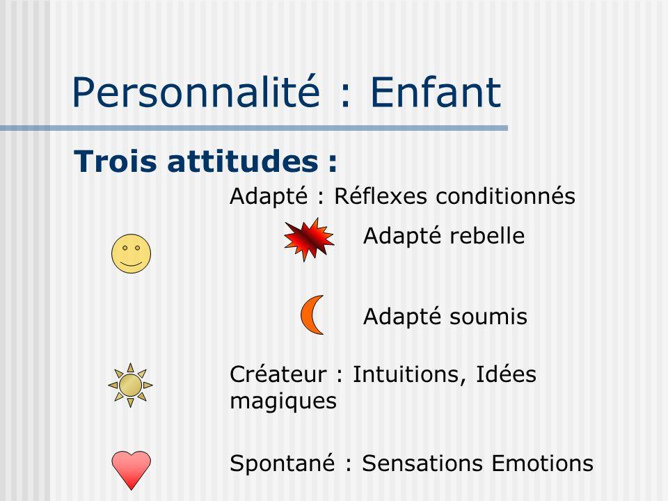 Personnalité : Enfant Trois attitudes : Créateur : Intuitions, Idées magiques Spontané : Sensations Emotions Adapté : Réflexes conditionnés Adapté rebelle Adapté soumis