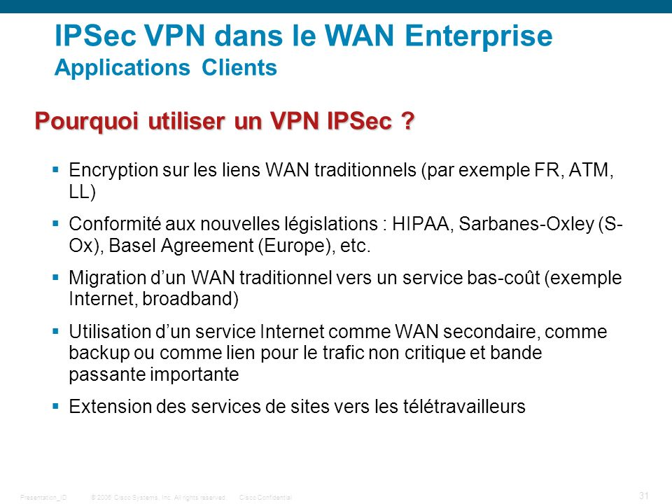 © 2006 Cisco Systems, Inc. All rights reserved.Cisco ConfidentialPresentation_ID 31 IPSec VPN dans le WAN Enterprise Applications Clients Encryption s
