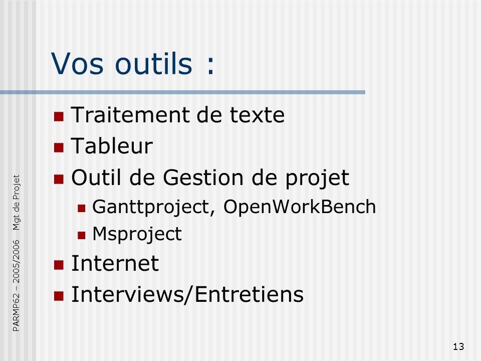 PARMP62 – 2005/2006 Mgt de Projet 13 Vos outils : Traitement de texte Tableur Outil de Gestion de projet Ganttproject, OpenWorkBench Msproject Internet Interviews/Entretiens
