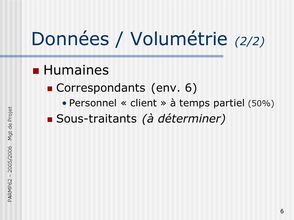 PARMP62 – 2005/2006 Mgt de Projet 6 Données / Volumétrie (2/2) Humaines Correspondants (env.