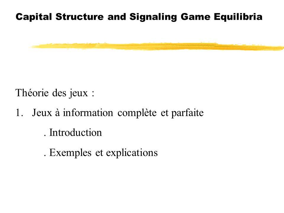 Capital Structure and Signaling Game Equilibria Théorie des jeux : 1. Jeux à information complète et parfaite. Introduction. Exemples et explications
