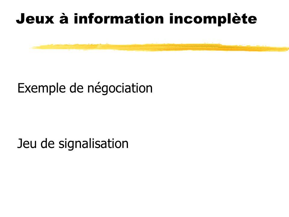 Jeux à information incomplète Exemple de négociation Jeu de signalisation