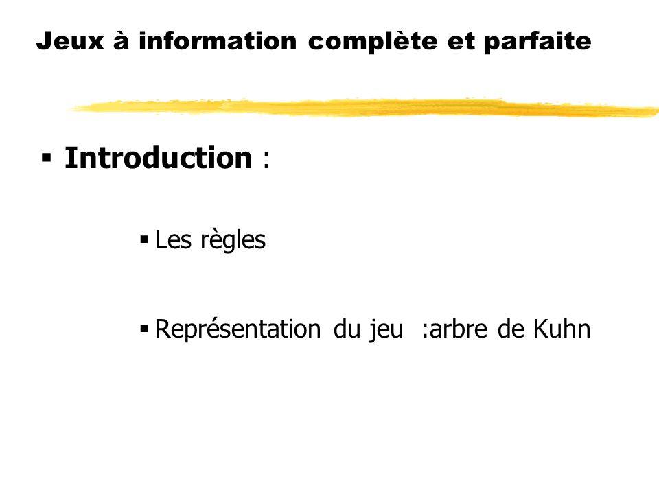 Jeux à information complète et parfaite Introduction : Les règles Représentation du jeu :arbre de Kuhn