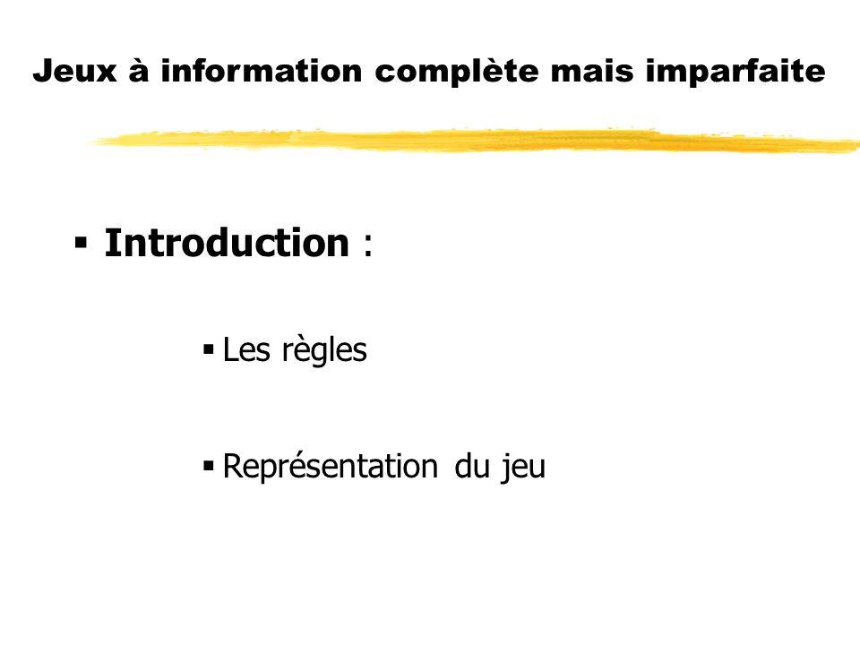 Jeux à information complète mais imparfaite Introduction : Les règles Représentation du jeu