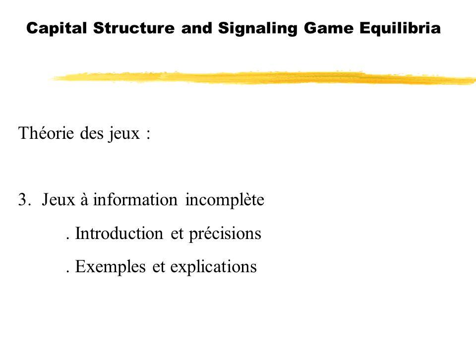 Capital Structure and Signaling Game Equilibria Théorie des jeux : 3.Jeux à information incomplète. Introduction et précisions. Exemples et explicatio