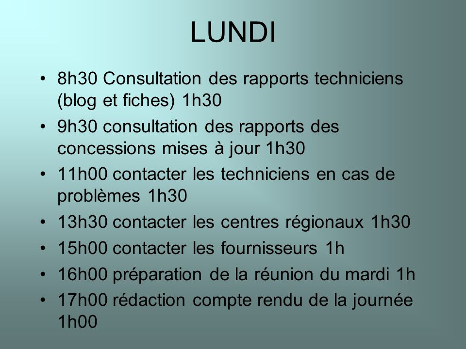LUNDI 8h30 Consultation des rapports techniciens (blog et fiches) 1h30 9h30 consultation des rapports des concessions mises à jour 1h30 11h00 contacte