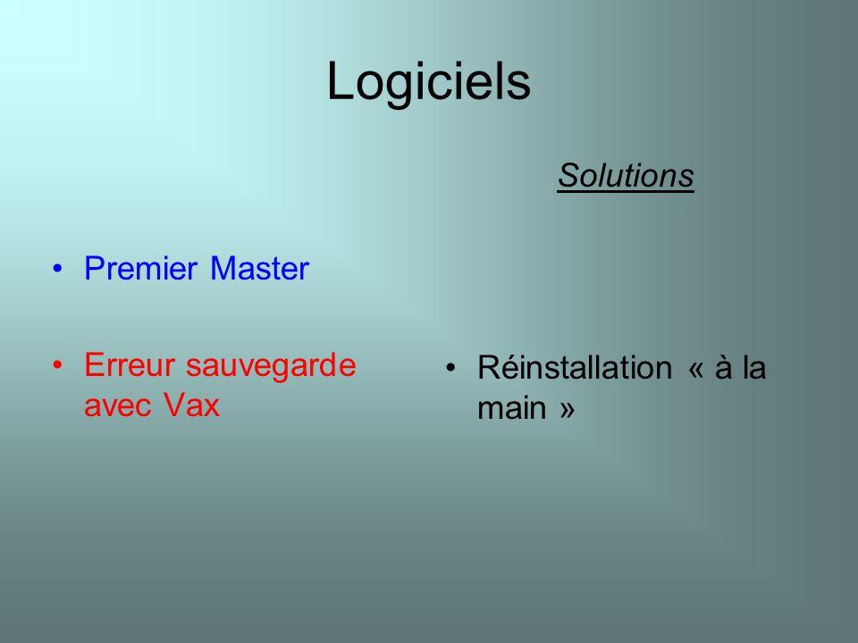 Logiciels Premier Master Erreur sauvegarde avec Vax Solutions Réinstallation « à la main »