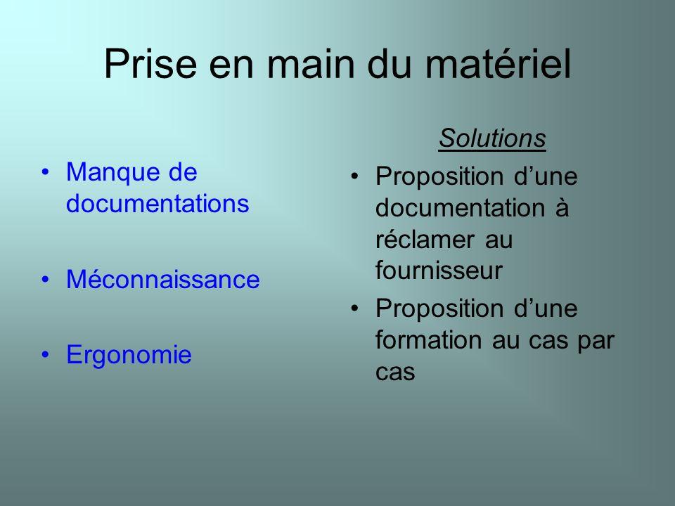 Prise en main du matériel Manque de documentations Méconnaissance Ergonomie Solutions Proposition dune documentation à réclamer au fournisseur Proposi