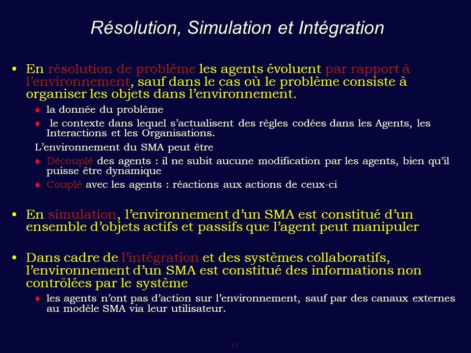 11 Résolution, Simulation et Intégration En résolution de problème les agents évoluent par rapport à lenvironnement, sauf dans le cas où le problème c