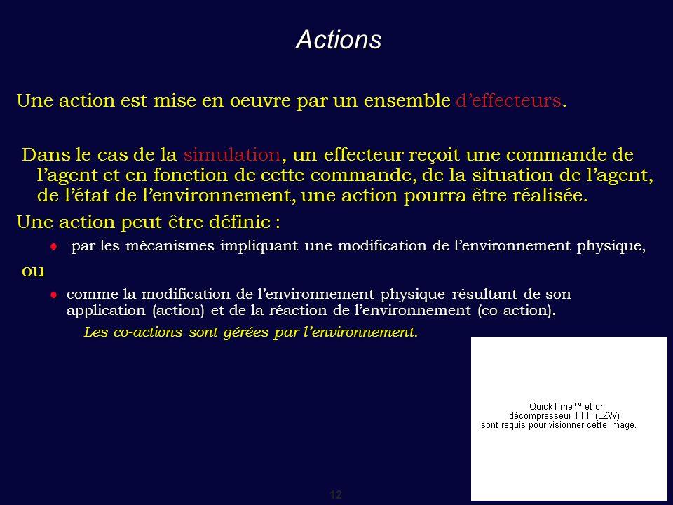 12 Actions Une action est mise en oeuvre par un ensemble deffecteurs. Dans le cas de la simulation, un effecteur reçoit une commande de lagent et en f