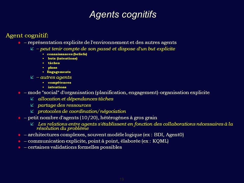 19 Agents cognitifs Agent cognitif: – représentation explicite de l'environnement et des autres agents – représentation explicite de l'environnement e