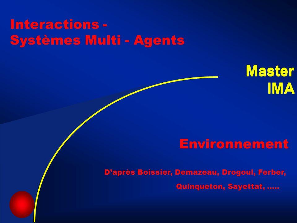 3 Environnement Daprès Boissier, Demazeau, Drogoul, Ferber, Quinqueton, Sayettat, ….. Interactions - Systèmes Multi - Agents Master IMA