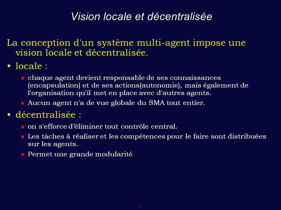 5 Vision locale et décentralisée La conception d'un système multi-agent impose une vision locale et décentralisée. locale :locale : chaque agent devie