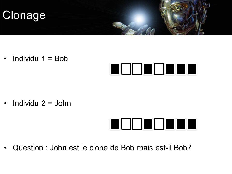 Clonage Individu 1 = Bob Individu 2 = John Question : John est le clone de Bob mais est-il Bob?