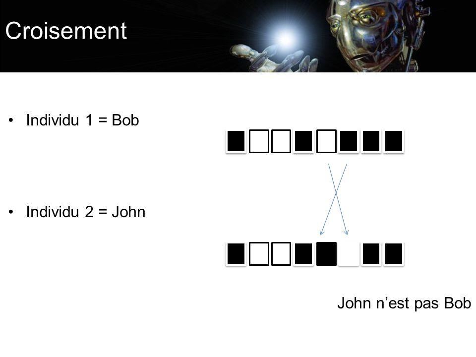Individu 1 = Bob Individu 2 = John John nest pas Bob Croisement