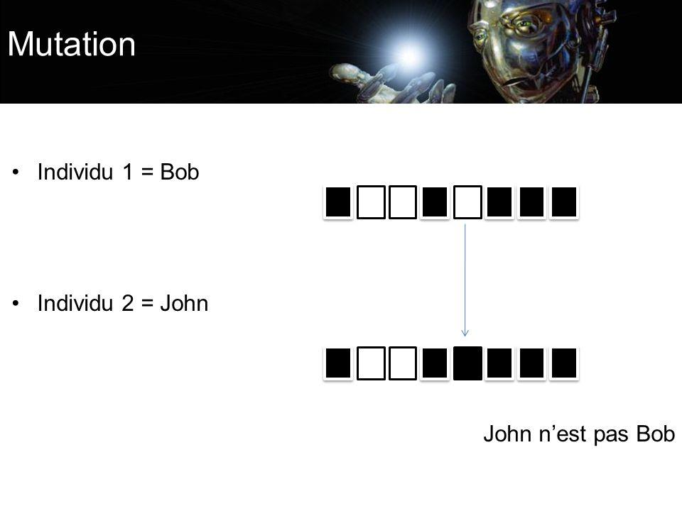 Individu 1 = Bob Individu 2 = John John nest pas Bob Mutation
