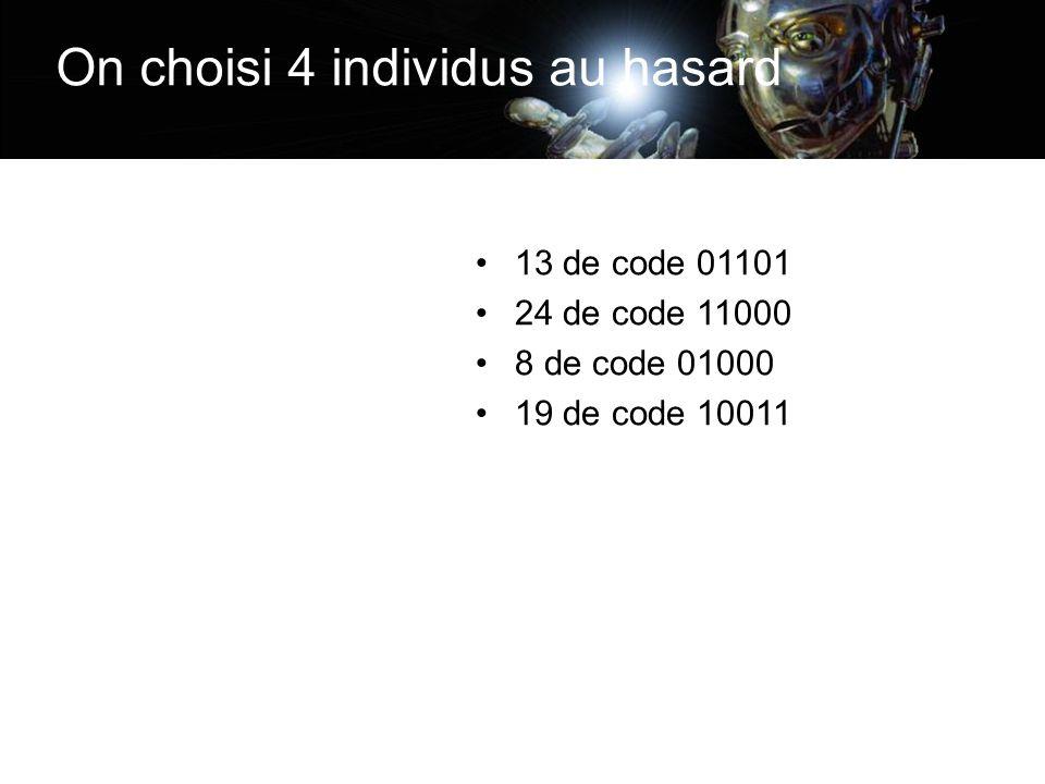 On choisi 4 individus au hasard 13 de code 01101 24 de code 11000 8 de code 01000 19 de code 10011