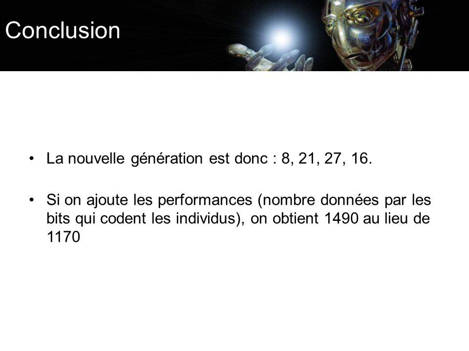Conclusion La nouvelle génération est donc : 8, 21, 27, 16. Si on ajoute les performances (nombre données par les bits qui codent les individus), on o
