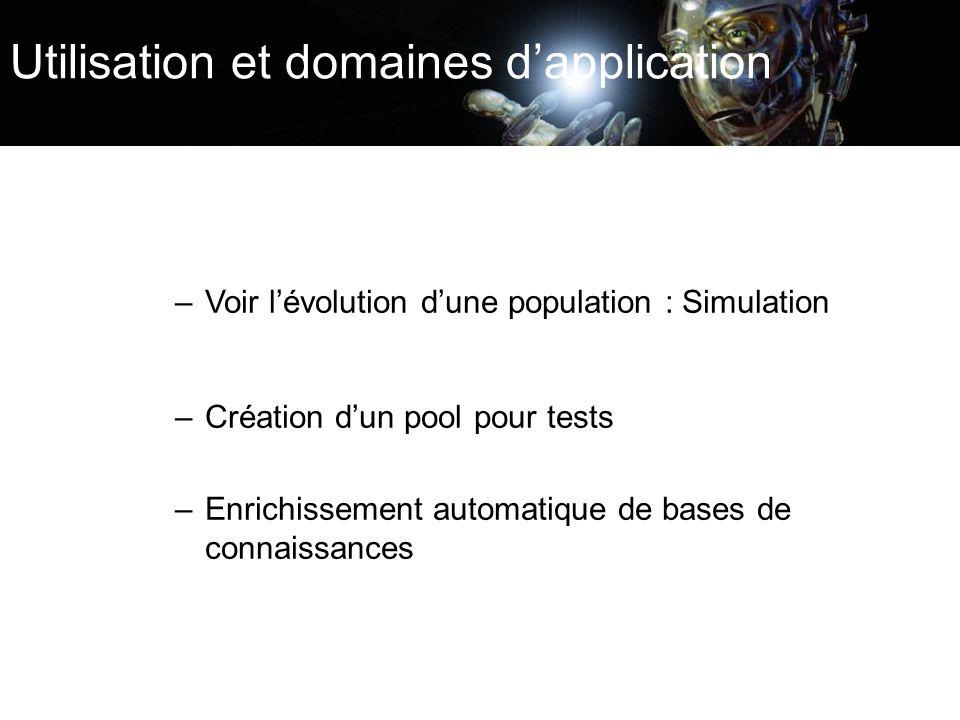 Utilisation et domaines dapplication –Voir lévolution dune population : Simulation –Création dun pool pour tests –Enrichissement automatique de bases