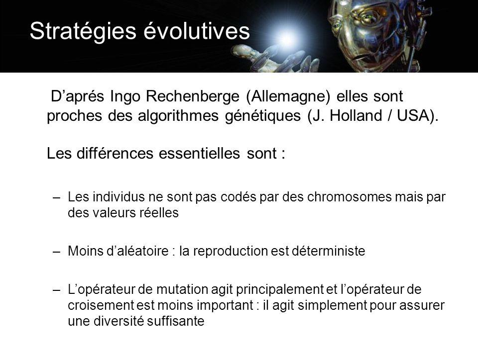 Stratégies évolutives Daprés Ingo Rechenberge (Allemagne) elles sont proches des algorithmes génétiques (J. Holland / USA). Les différences essentiell