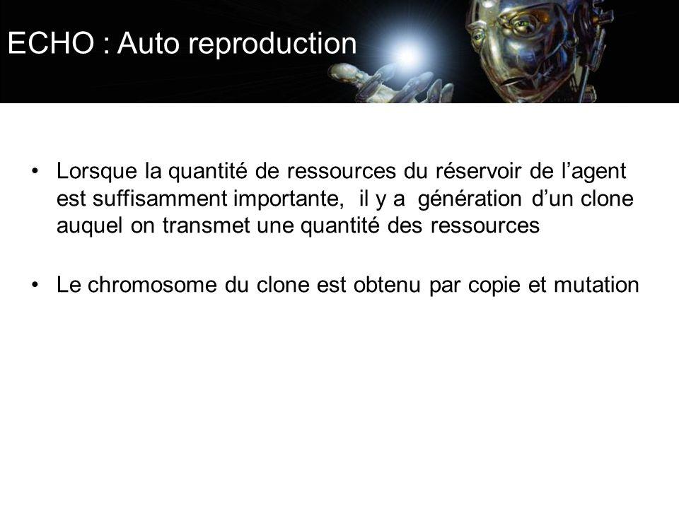 ECHO : Auto reproduction Lorsque la quantité de ressources du réservoir de lagent est suffisamment importante, il y a génération dun clone auquel on t
