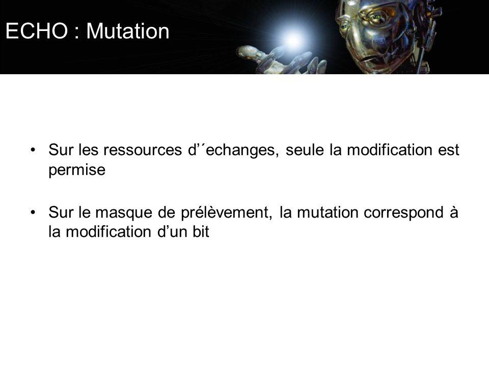 ECHO : Mutation Sur les ressources d´echanges, seule la modification est permise Sur le masque de prélèvement, la mutation correspond à la modificatio