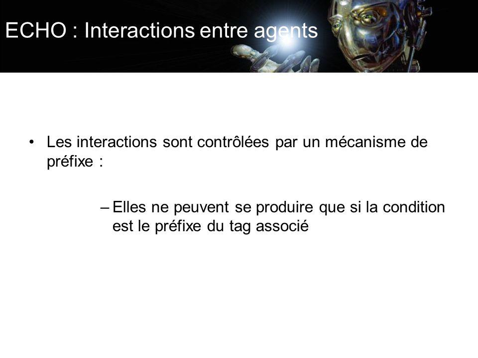 ECHO : Interactions entre agents Les interactions sont contrôlées par un mécanisme de préfixe : –Elles ne peuvent se produire que si la condition est