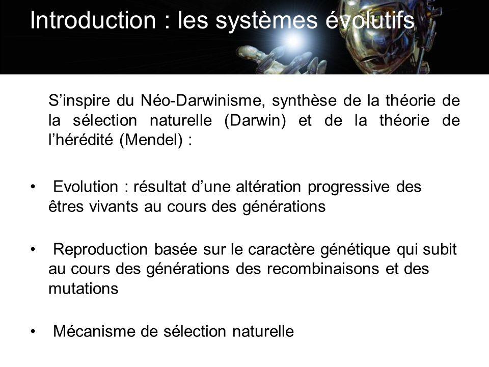 Introduction : les systèmes évolutifs Sinspire du Néo-Darwinisme, synthèse de la théorie de la sélection naturelle (Darwin) et de la théorie de lhéréd