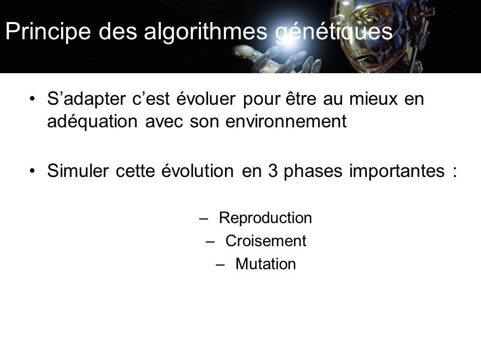 Principe des algorithmes génétiques Sadapter cest évoluer pour être au mieux en adéquation avec son environnement Simuler cette évolution en 3 phases