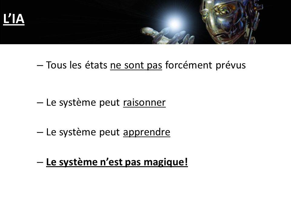 LIA – Tous les états ne sont pas forcément prévus – Le système peut raisonner – Le système peut apprendre – Le système nest pas magique!