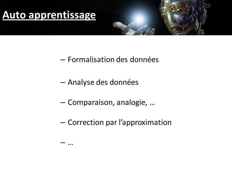 Auto apprentissage – Formalisation des données – Analyse des données – Comparaison, analogie, … – Correction par lapproximation – …