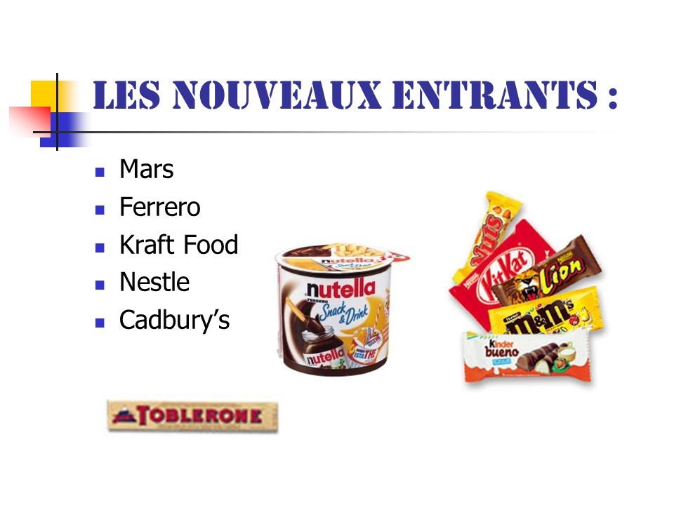 Les nouveaux entrants : Mars Ferrero Kraft Food Nestle Cadburys