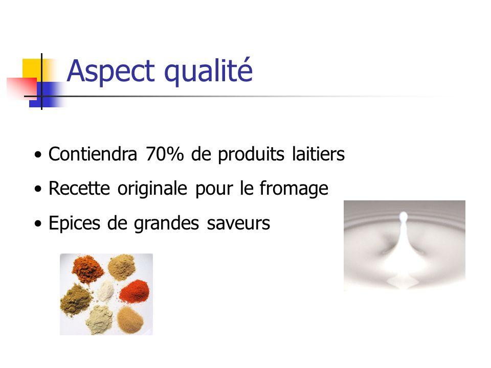 Aspect qualité Contiendra 70% de produits laitiers Recette originale pour le fromage Epices de grandes saveurs