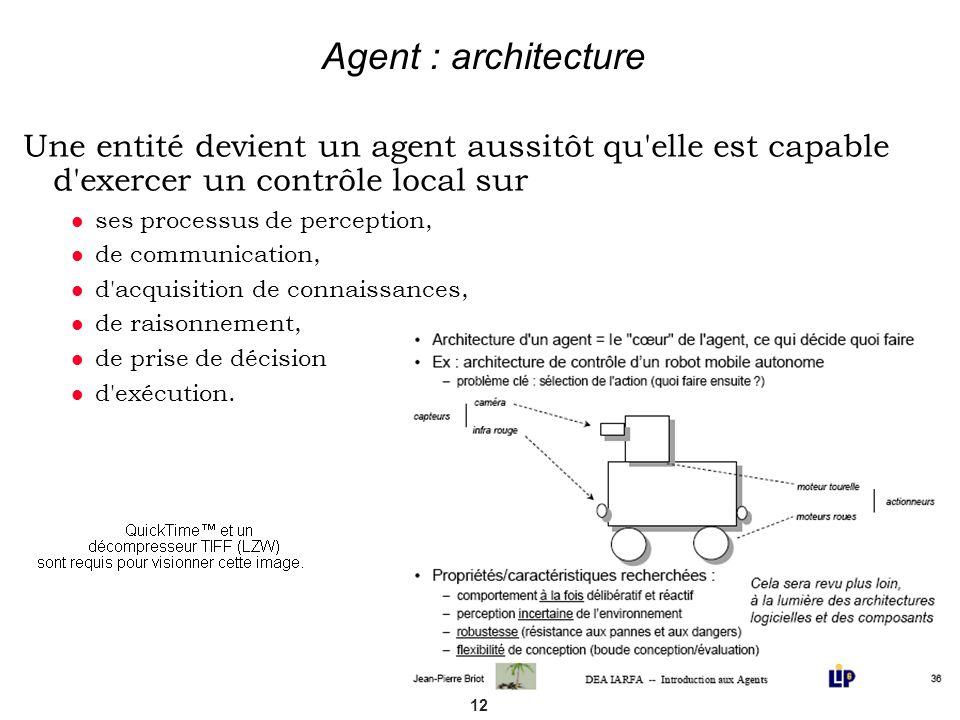 12 Agent : architecture Une entité devient un agent aussitôt qu'elle est capable d'exercer un contrôle local sur ses processus de perception, de commu