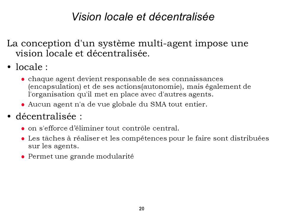 20 Vision locale et décentralisée La conception d'un système multi-agent impose une vision locale et décentralisée. locale : chaque agent devient resp