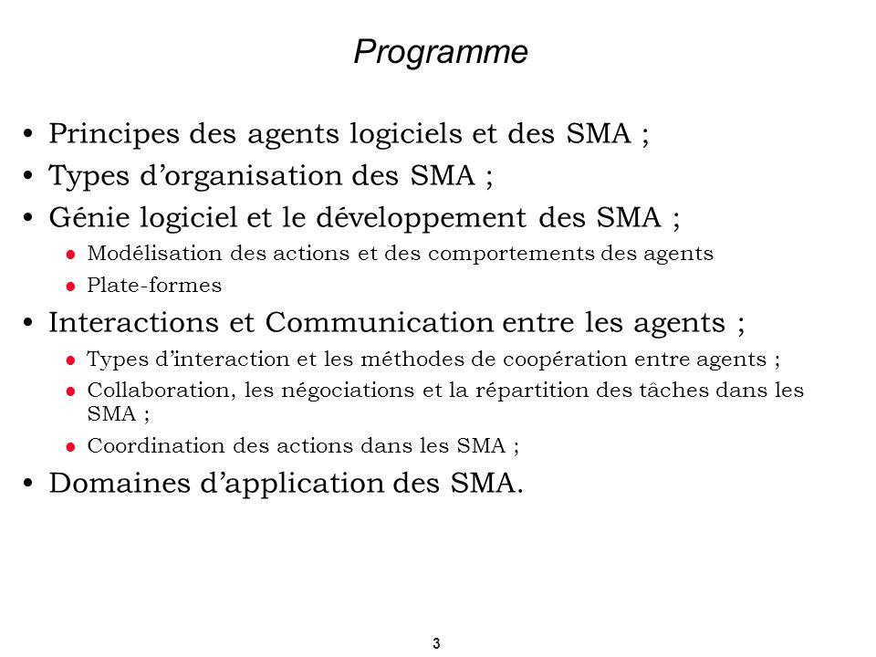 3 Programme Principes des agents logiciels et des SMA ; Types dorganisation des SMA ; Génie logiciel et le développement des SMA ; Modélisation des ac