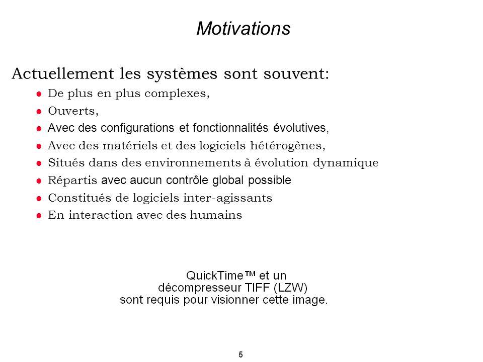 5 Motivations Actuellement les systèmes sont souvent: De plus en plus complexes, Ouverts, Avec des configurations et fonctionnalités évolutives, Ave