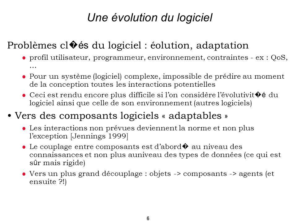 6 Une évolution du logiciel Problèmes cl és du logiciel : éolution, adaptation profil utilisateur, programmeur, environnement, contraintes - ex : QoS,