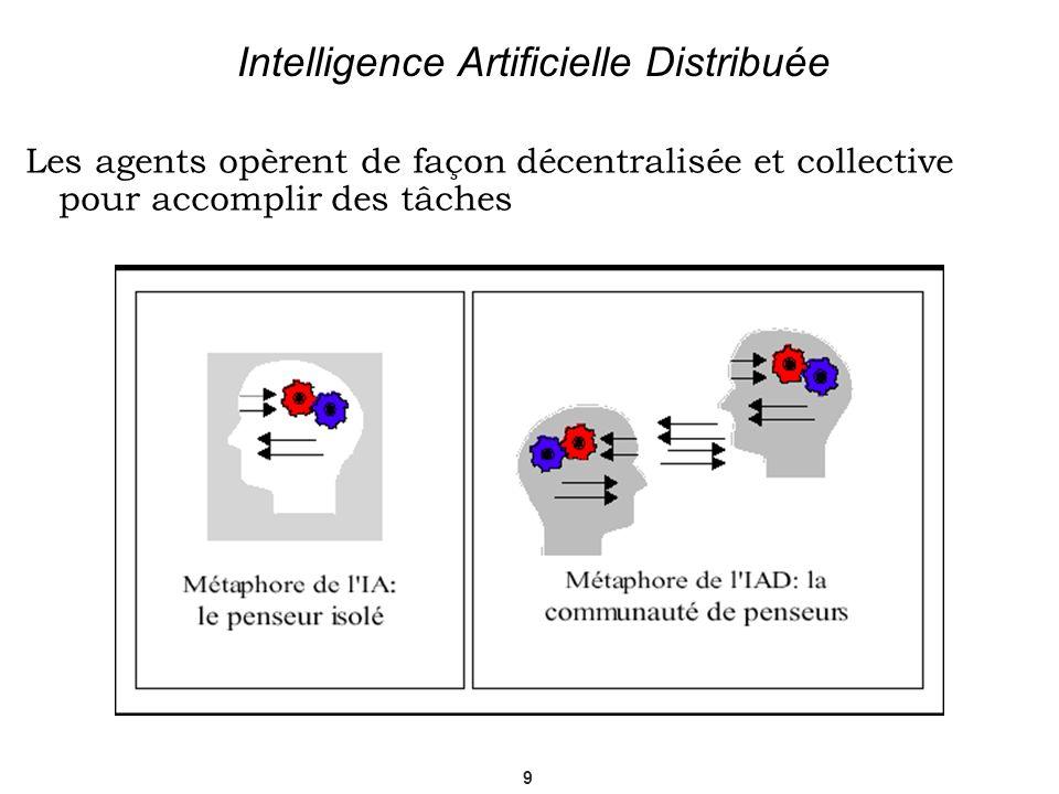 9 Intelligence Artificielle Distribuée Les agents opèrent de façon décentralisée et collective pour accomplir des tâches