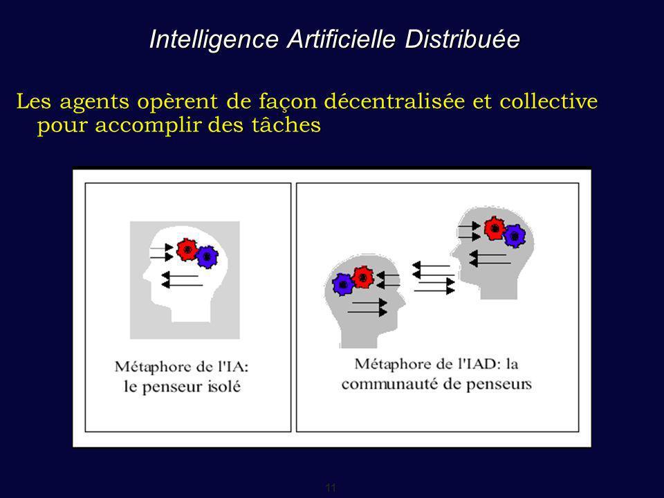 11 Intelligence Artificielle Distribuée Les agents opèrent de façon décentralisée et collective pour accomplir des tâches
