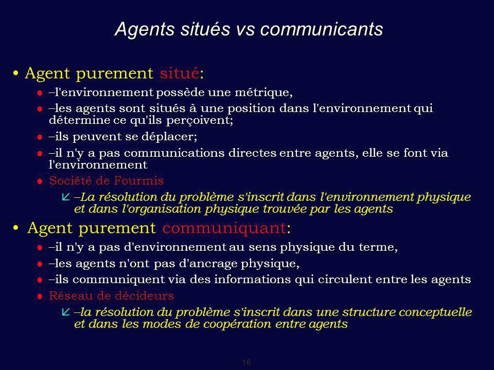 16 Agents situés vs communicants Agent purement situé: Agent purement situé: –l environnement possède une métrique, –l environnement possède une métrique, –les agents sont situés à une position dans l environnement qui détermine ce qu ils perçoivent; –les agents sont situés à une position dans l environnement qui détermine ce qu ils perçoivent; –ils peuvent se déplacer; –ils peuvent se déplacer; –il n y a pas communications directes entre agents, elle se font via l environnement –il n y a pas communications directes entre agents, elle se font via l environnement Société de Fourmis Société de Fourmis –La résolution du problème s inscrit dans l environnement physique et dans l organisation physique trouvée par les agents –La résolution du problème s inscrit dans l environnement physique et dans l organisation physique trouvée par les agents Agent purement communiquant:Agent purement communiquant: –il n y a pas d environnement au sens physique du terme, –il n y a pas d environnement au sens physique du terme, –les agents n ont pas d ancrage physique, –les agents n ont pas d ancrage physique, –ils communiquent via des informations qui circulent entre les agents –ils communiquent via des informations qui circulent entre les agents Réseau de décideurs Réseau de décideurs –la résolution du problème s inscrit dans une structure conceptuelle et dans les modes de coopération entre agents –la résolution du problème s inscrit dans une structure conceptuelle et dans les modes de coopération entre agents