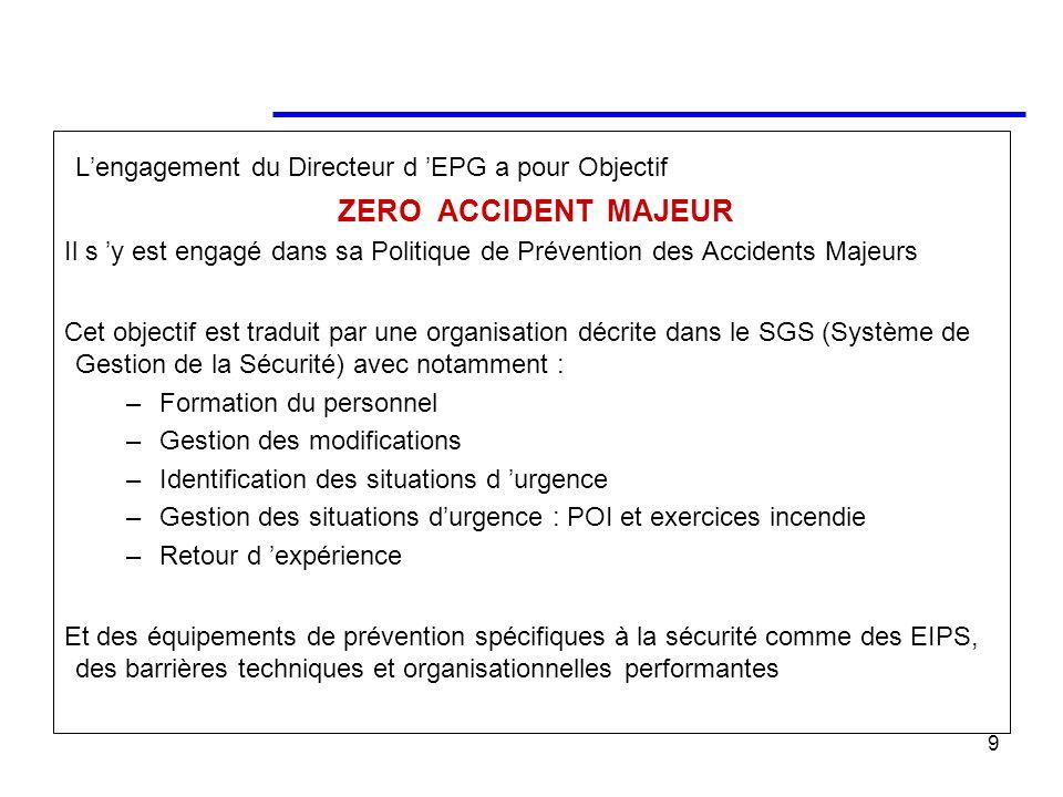 9 Lengagement du Directeur d EPG a pour Objectif ZERO ACCIDENT MAJEUR Il s y est engagé dans sa Politique de Prévention des Accidents Majeurs Cet obje